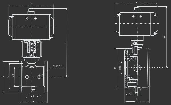 GB2070气动保温O型球阀  概述    GB2070气动保温0型球阀由气动活塞式执行机构和夹层整体铸造阀体组成,阀芯为全球圆柱通孔球体。该产品阀座设计成具有像弹簧一样的回弹作用而形成双向挠性阀座,确保了球体密封的可靠性同时介质压力与上游端挠性结构的回弹力又增加了下游端阀座的密封。挠性结构又自动地补偿阀座的磨损及温度和压力变化。提高了使用寿命。    该产品具有易拆装维修、外形整洁、体积小巧、保温效果好等优点。能广泛应用于易结晶及拈稠的流体,并能满足各种需要保温介质的场合。如含蜡质、沥青较多的石油等被控